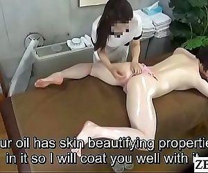 Pale Japanese milf prone oil..