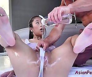 Asian slut oiled and massage..